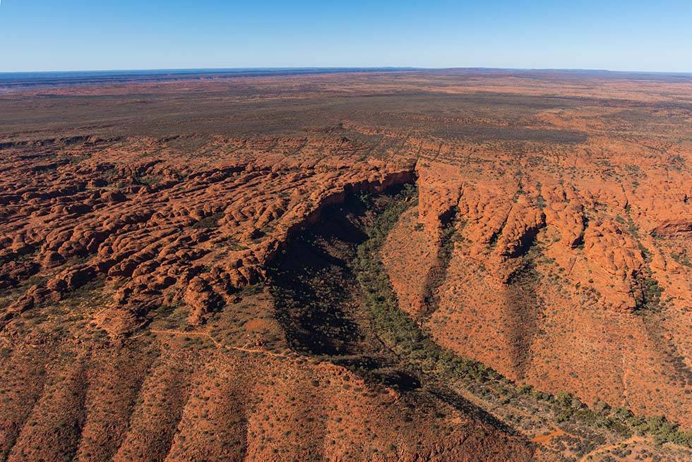 Scenic view from the helicopter flight over Kings Canyon